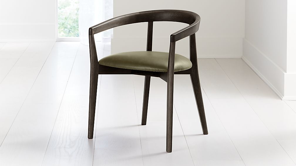 Cullen Dark Stain Olive Round Back Dining Chair - Image 1 of 6