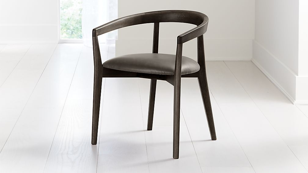 Cullen Dark Stain Saddle Round Back Dining Chair - Image 1 of 6