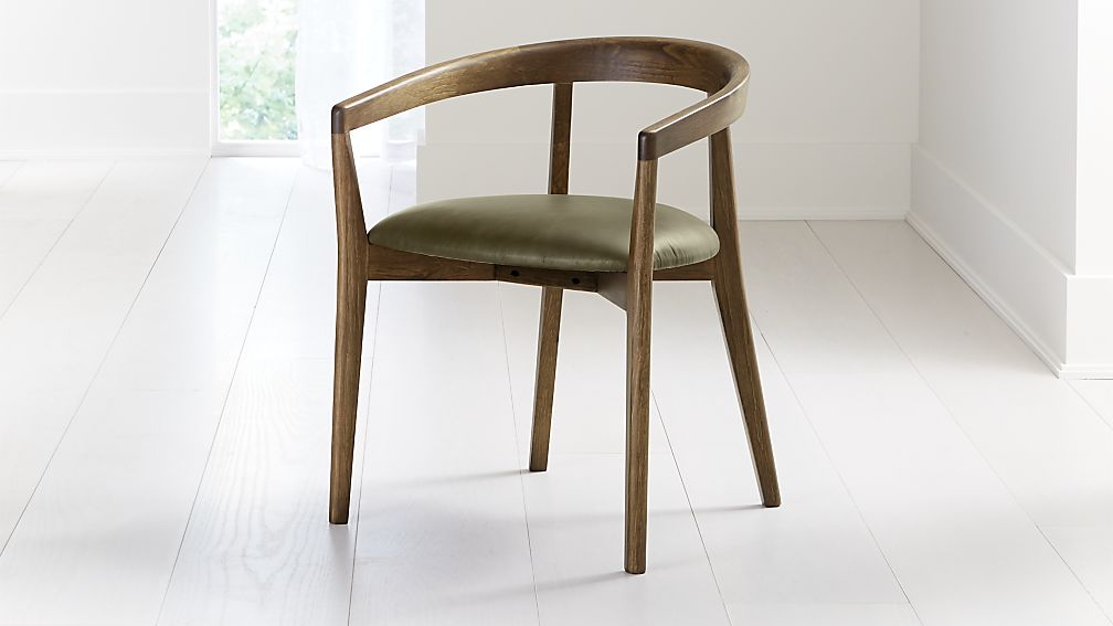 Cullen Shiitake Olive Round Back Dining Chair - Image 1 of 6