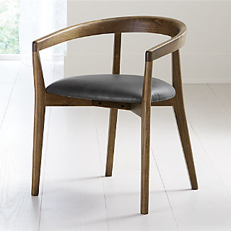 Cullen Shiitake Viola Black Round Back Dining Chair