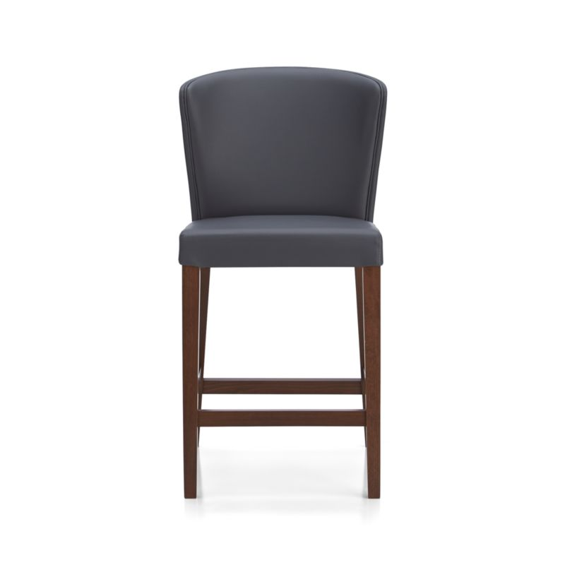 """The style is classic Parsons. The colors are both fashion-forward and classic. The look is bold and modern in soft pebbled bicast leather with double saddle-stitching. Crafted of solid birch with legs stained a rich ebony.<br /><br /><NEWTAG/><ul><li>Solid birch and low-emission engineered wood</li><li>Web suspension</li><li>Bicast leather with foam padding</li><li>Double saddle-stitch detail</li><li>24""""H seat sized for counters</li><li>Designed and tested for use in commercial spaces such as offices, restaurants and hotels</li><li>Made in Italy</li></ul>"""