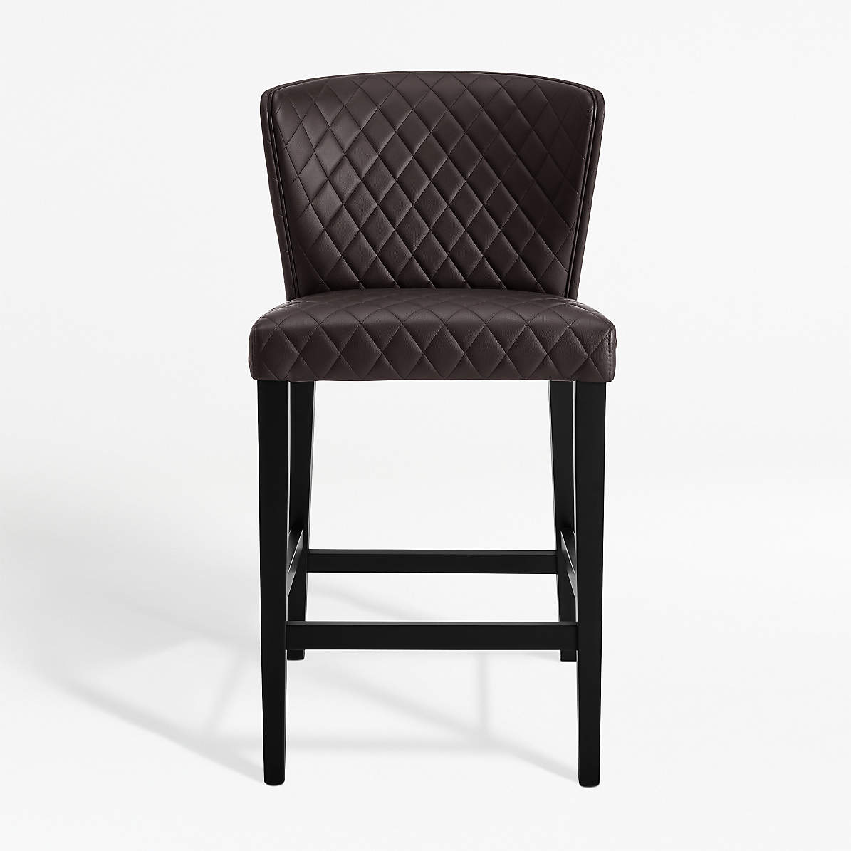 Curran Quilted Chocolate Counter Stool + Reviews  Crate and Barrel