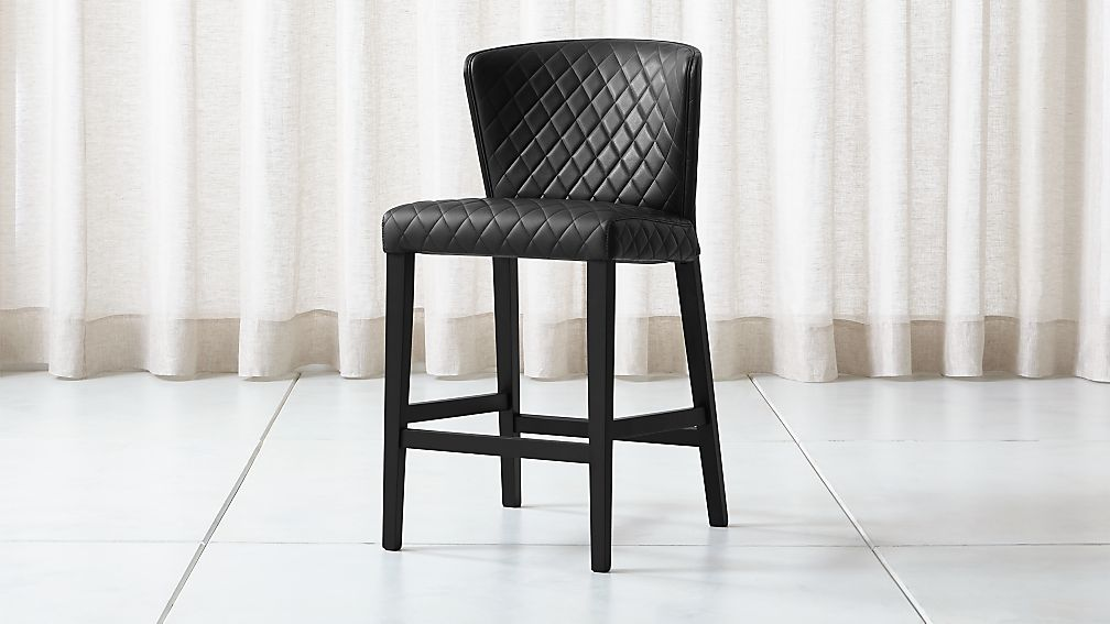 Curran Quilted Onyx Counter Stool - Image 1 of 5