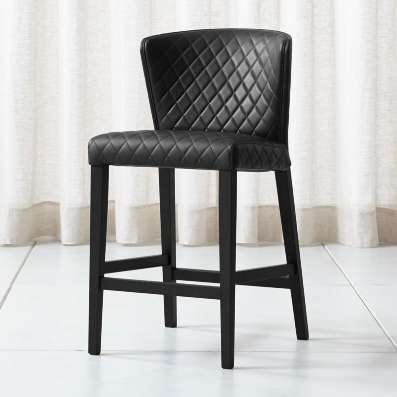 Curran Quilted Onyx Counter Stool Reviews Crate And Barrel