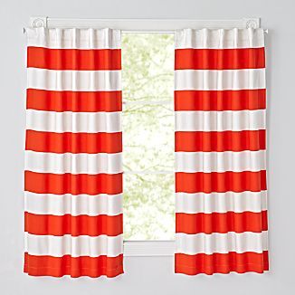 Set Of 2 Cabana Stripe Red 63 Blackout Curtains