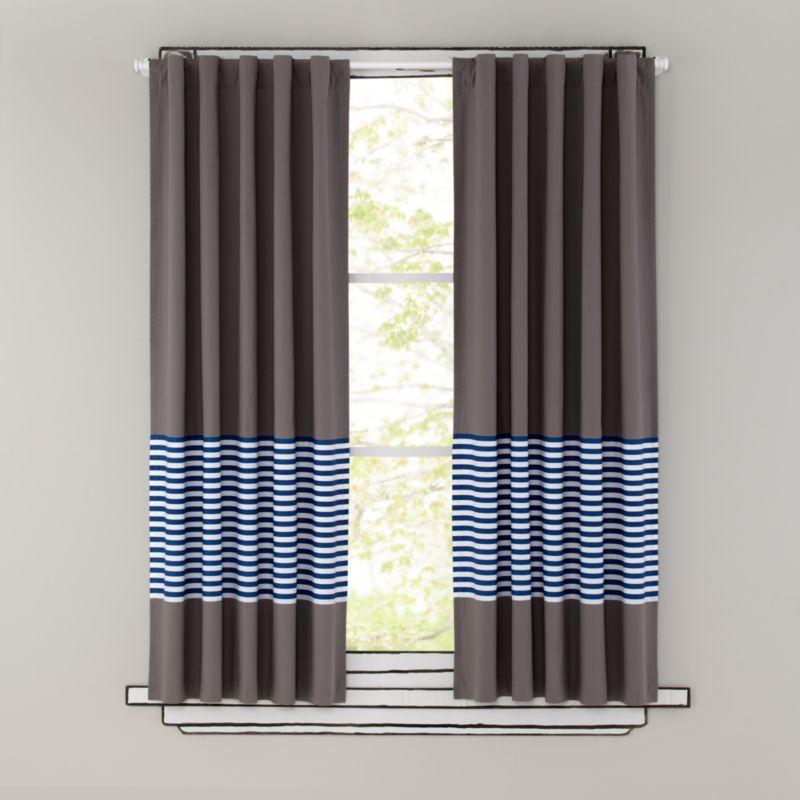 Kids Curtains Blue Stripe Grey Window