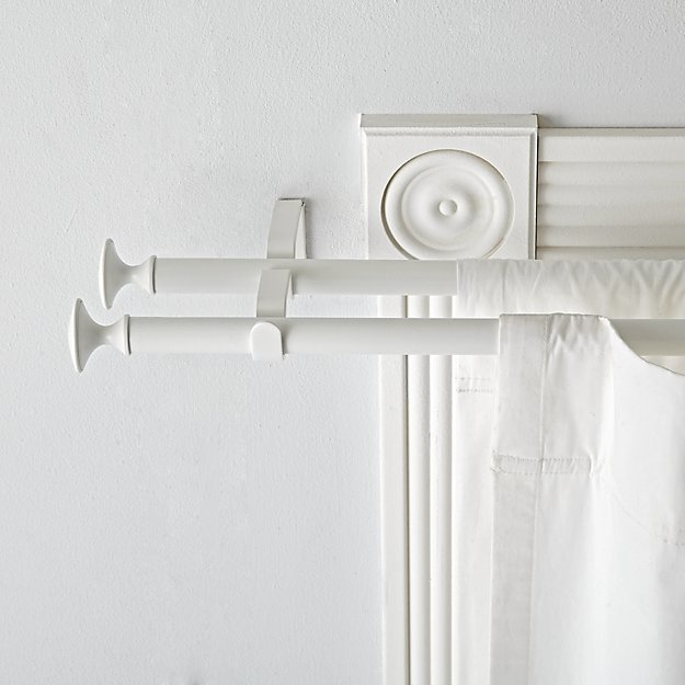 Double White Curtain Rod