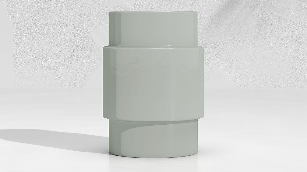 Cylinder Steel Grey Garden Stool End Table - Image 1 of 5