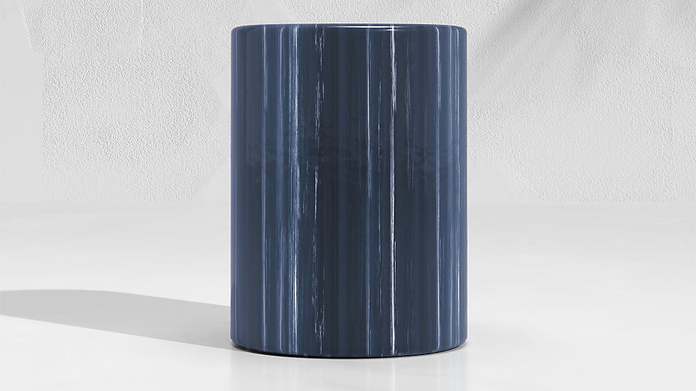 Cylinder Navy Blue Garden Stool End Table - Image 1 of 4