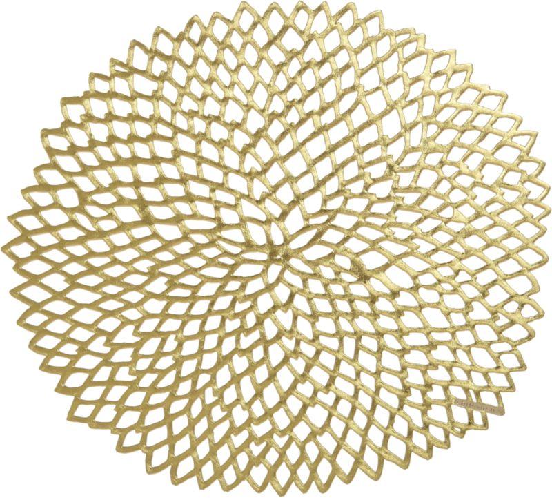 A beautiful dahlia design is woven of gold vinyl for a sophisticated modern place setting.<br /><br /><NEWTAG/><ul><li>100% vinyl placemat</li><li>Clean placemat with a damp cloth</li><li>Made in Taiwan</li></ul>