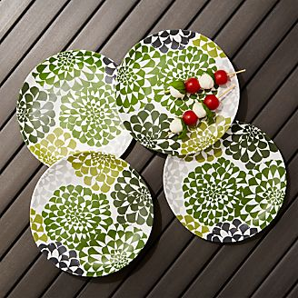 Dahlia Melamine Flower Plates Set of 4 & Sale: Melamine Dinnerware for Outdoor Dining | Crate and Barrel