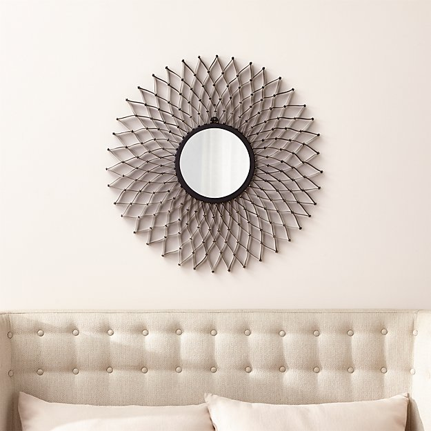 Round Wall Mirrors dahlia round wall mirror | crate and barrel