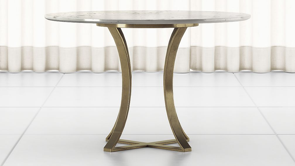 """Damen 48"""" White Marble Top Dining Table - Image 1 of 6"""
