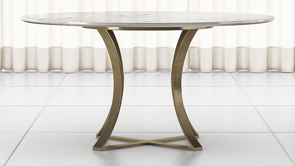 "Damen 60"" White Marble Top Dining Table - Image 1 of 6"