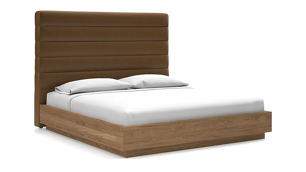 Danielle King Headboard with Batten Plinth-Base Bed Saddle Faux Leather - Image 1 of 1