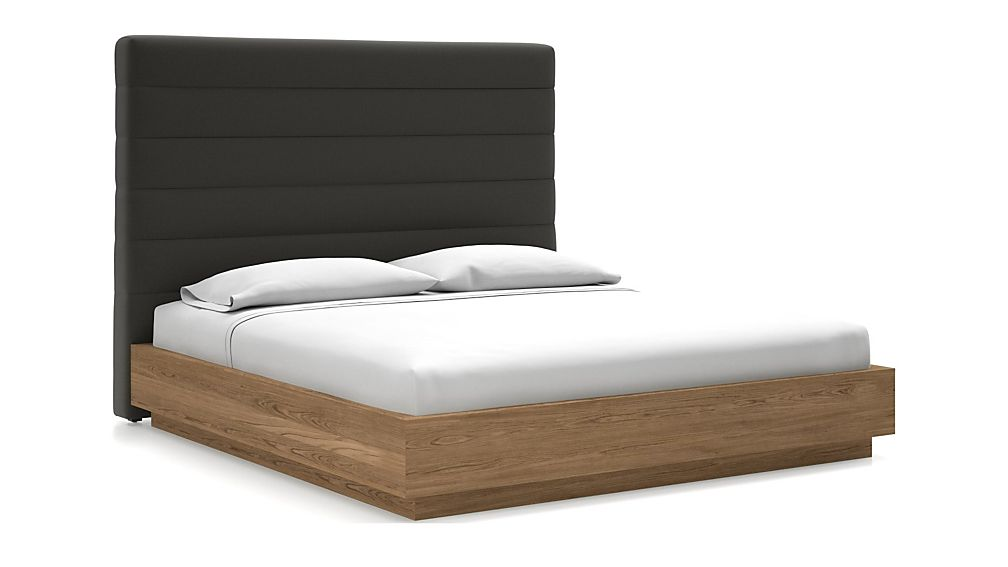 Danielle King Headboard with Batten Plinth-Base Bed Carbon - Image 1 of 1