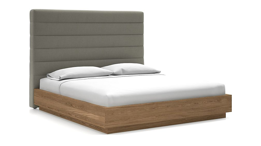 Danielle King Headboard with Batten Plinth-Base Bed Dove - Image 1 of 1