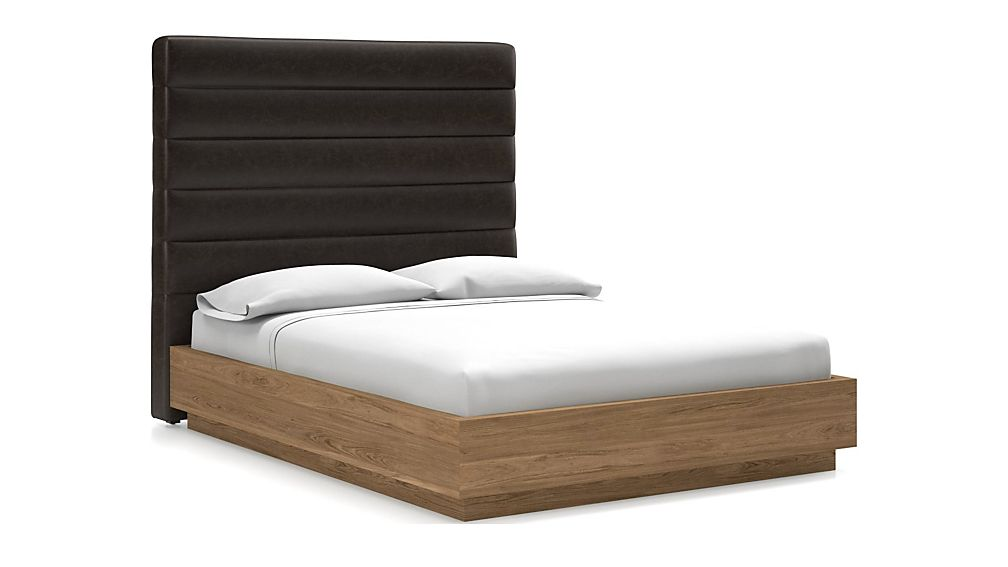 Danielle Queen Headboard with Batten Plinth-Base Bed Espresso Faux Leather - Image 1 of 1