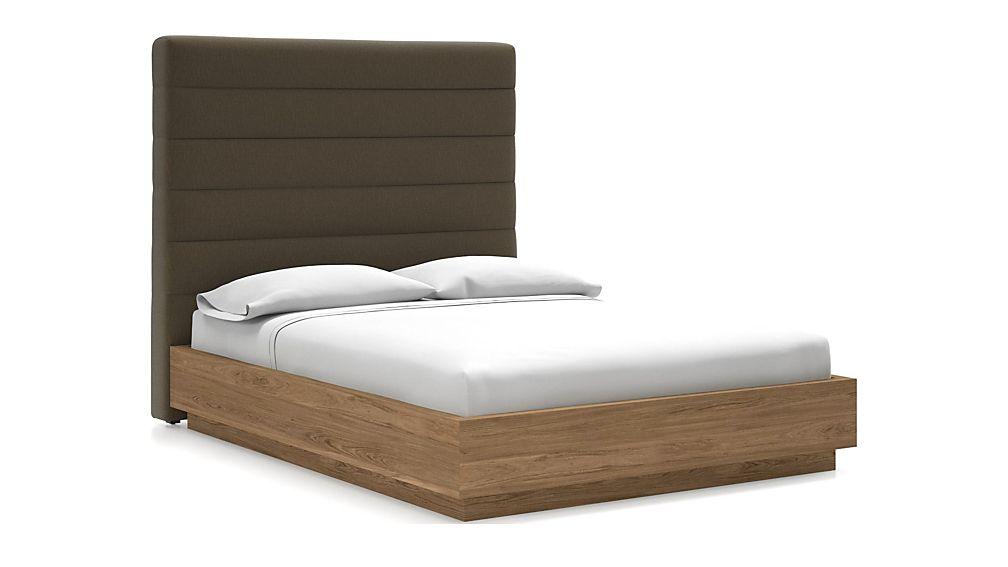 Danielle Queen Headboard with Batten Plinth-Base Bed Bark - Image 1 of 1
