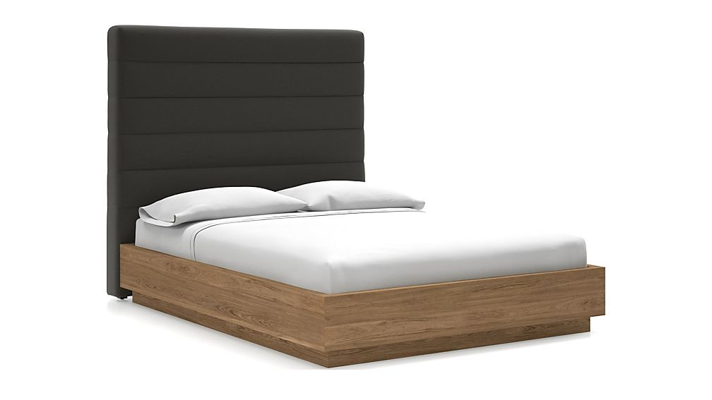 Danielle Queen Headboard with Batten Plinth-Base Bed Carbon - Image 1 of 1