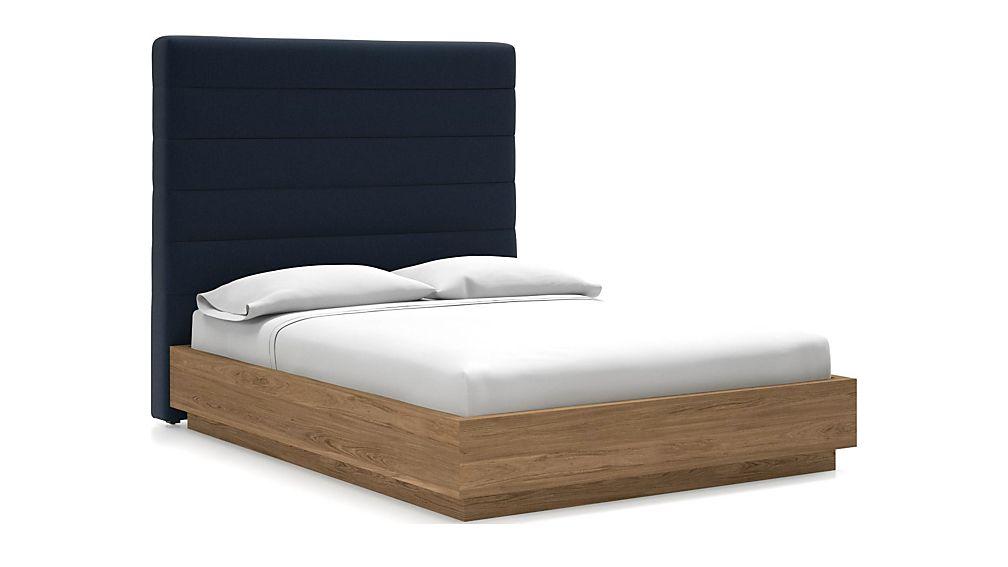 Danielle Queen Headboard with Batten Plinth-Base Bed Sapphire - Image 1 of 1