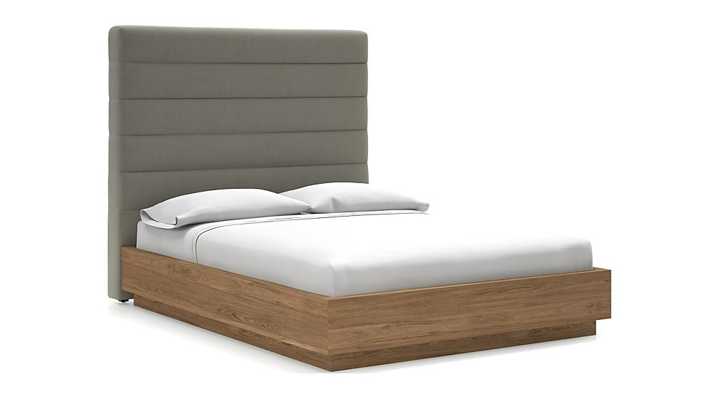 Danielle Queen Headboard with Batten Plinth-Base Bed Dove - Image 1 of 1