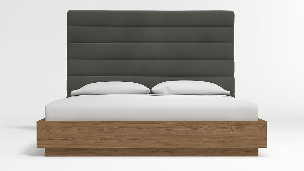 Danielle King Headboard with Batten Plinth-Base Bed Fog - Image 1 of 3