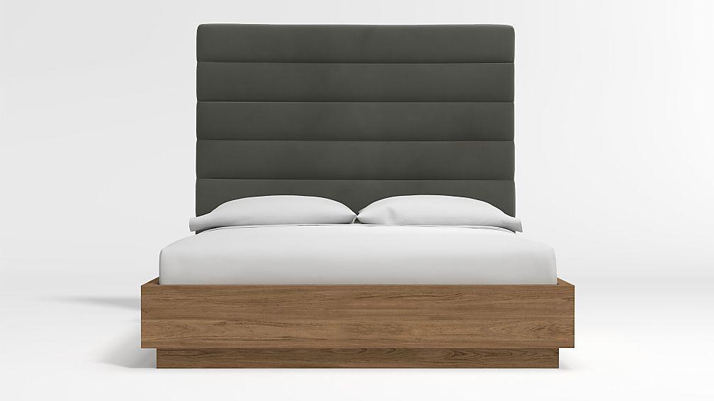 Danielle Queen Headboard with Batten Plinth-Base Bed Fog - Image 1 of 3