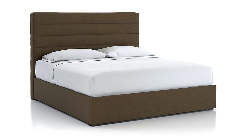 Danielle King Channel Headboard with Gas-Lift Storage Base Bark - Image 1 of 5