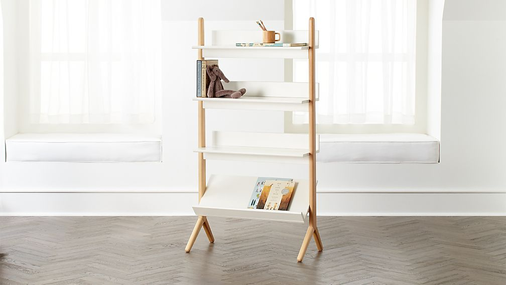 Danish White And Natural Tall Bookcase Reviews Crate And Barrel