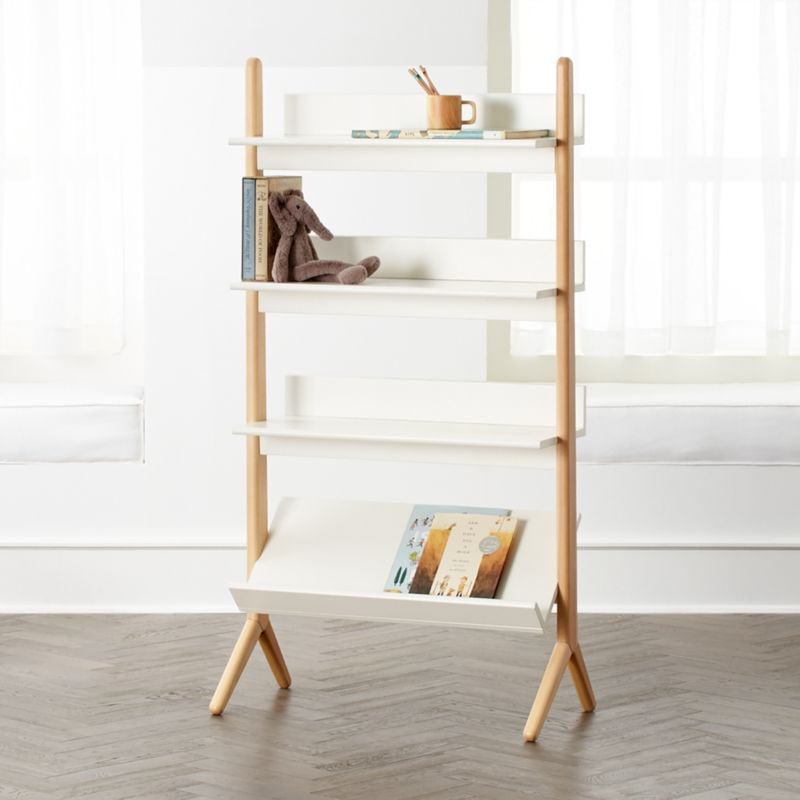 Danish White And Natural Tall Bookcase + Reviews
