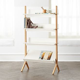 Danish White And Natural Tall Bookcase Kids