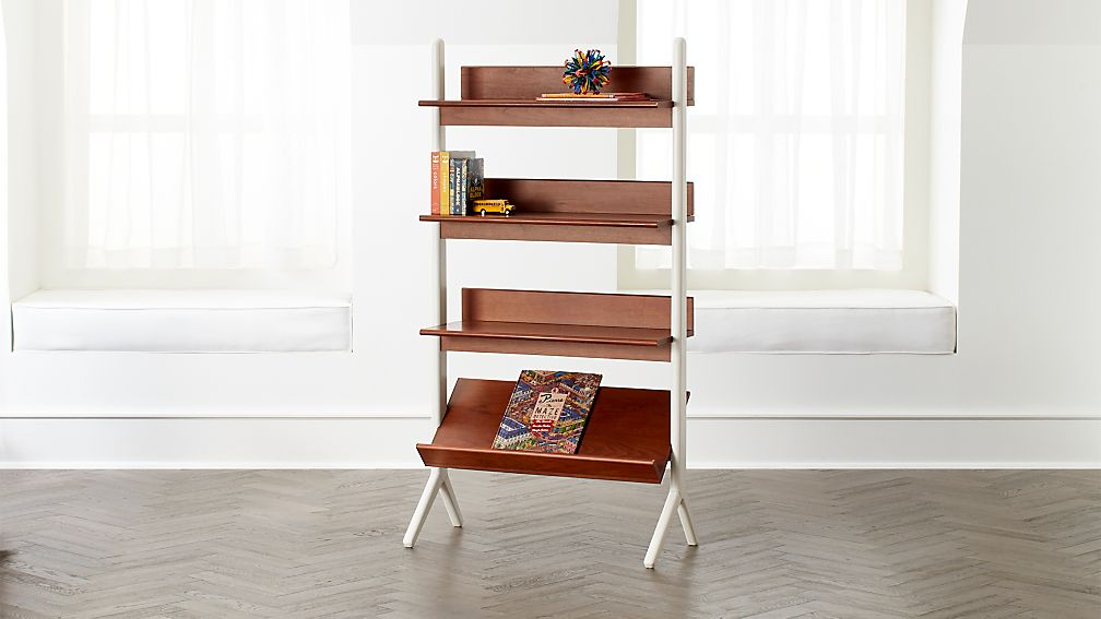 Danish Walnut And White Tall Bookcase Reviews Crate And Barrel
