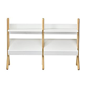 danish white and natural wide bookcase - White Bookshelves