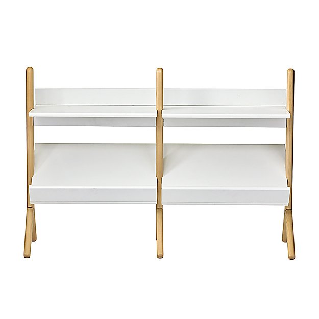 Danish White and Natural Wide Bookcase - Image 1 of 7