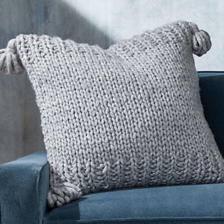 Dante Grey Tassel Pillow with Down-Alternative Insert + Reviews | Crate and  Barrel