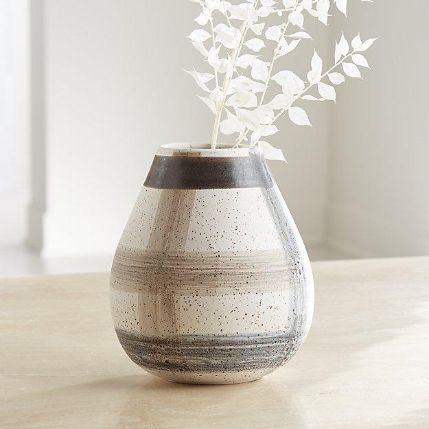 Darcy Grey Plaid Vase - Image 1 of 7