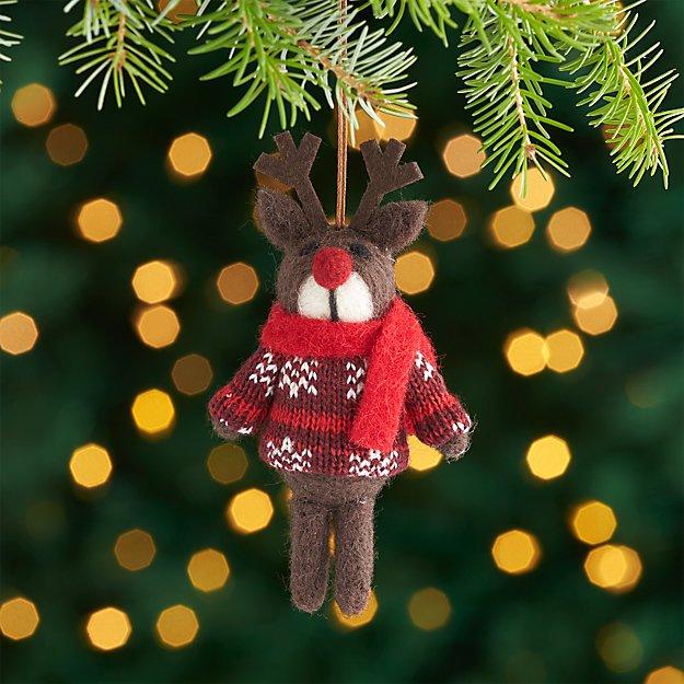 Dark Brown Reindeer Ornament with Sweater.