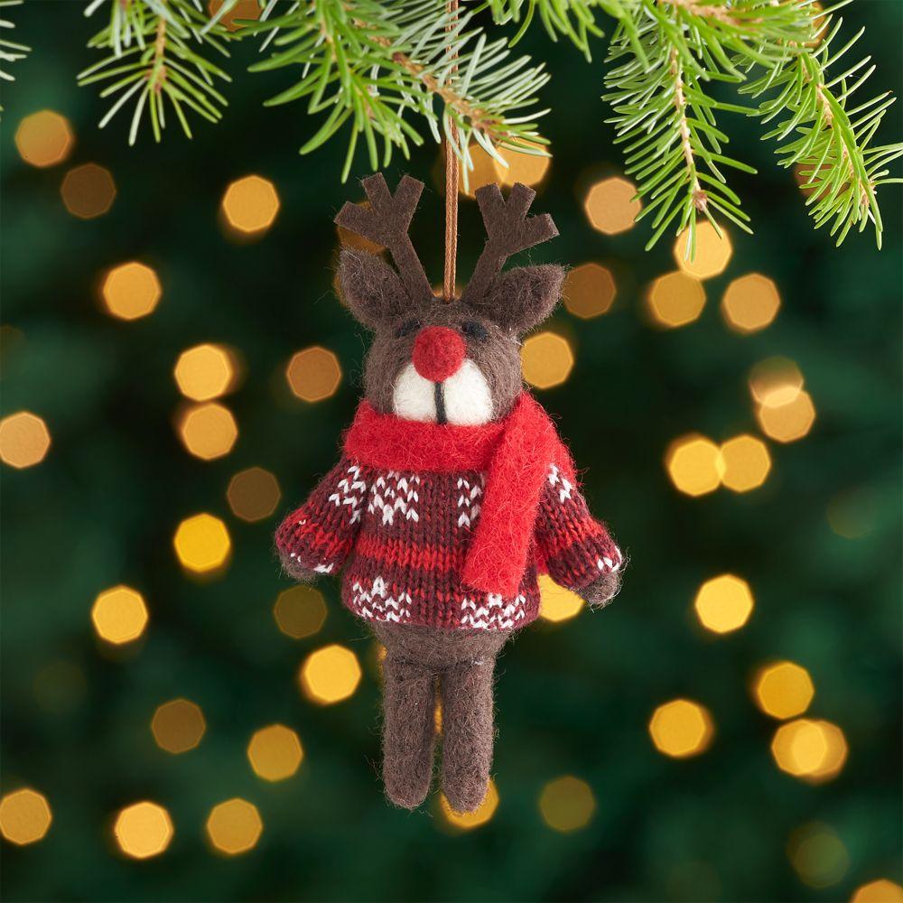 Dark Brown Felt Reindeer with Sweater Ornament