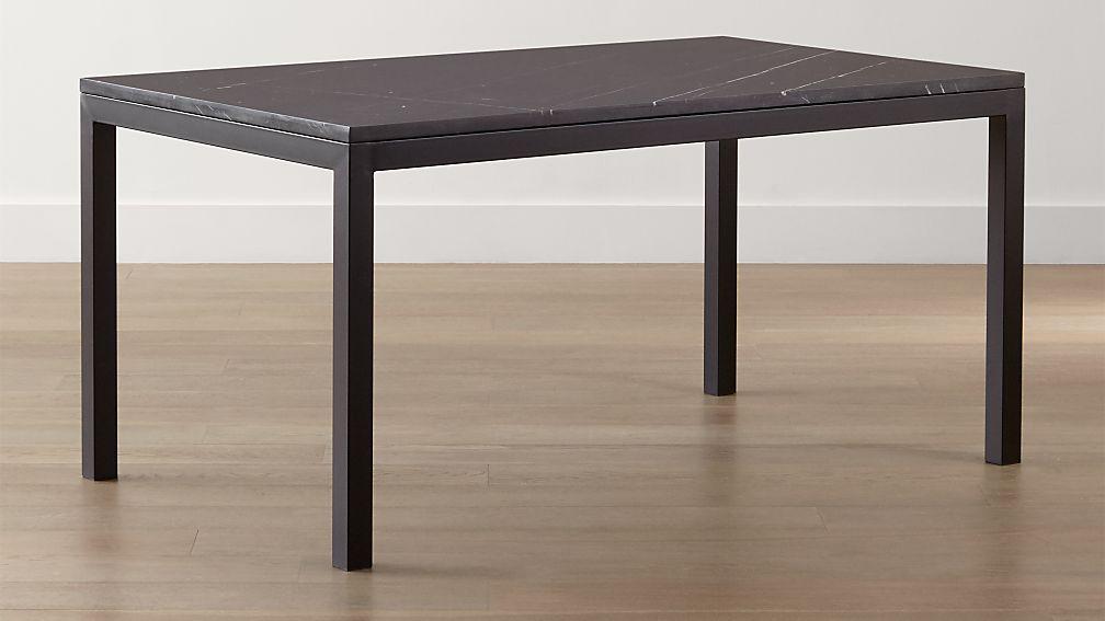 Parsons Black Marble Top Dark Steel Base Dining Tables  Crate