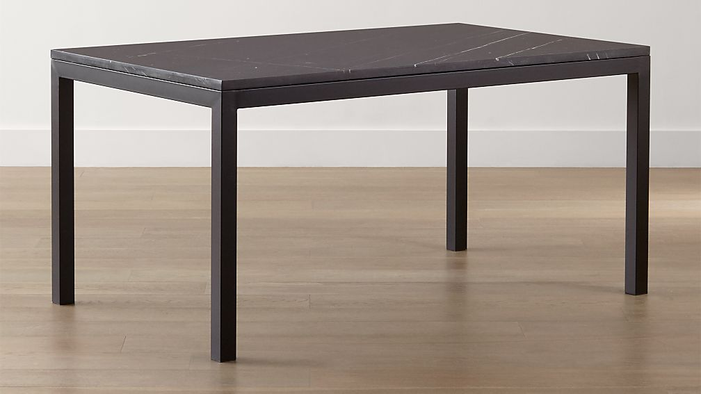 Parsons Black Marble Top/ Dark Steel Base Dining Tables - Image 1 of 8