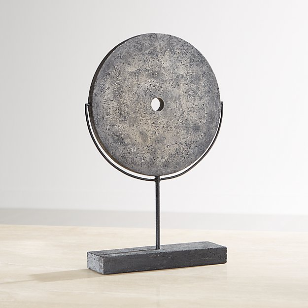 Dark Grey Volcanic Ash Disc Sculpture - Image 1 of 8