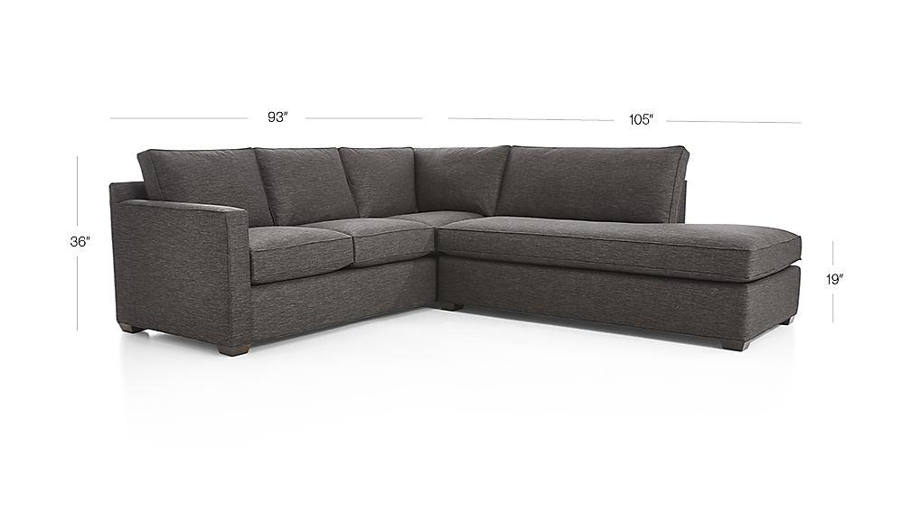 Davis 2 piece right bumper sectional sofa crate and barrel for Davis 2 piece sectional sofa
