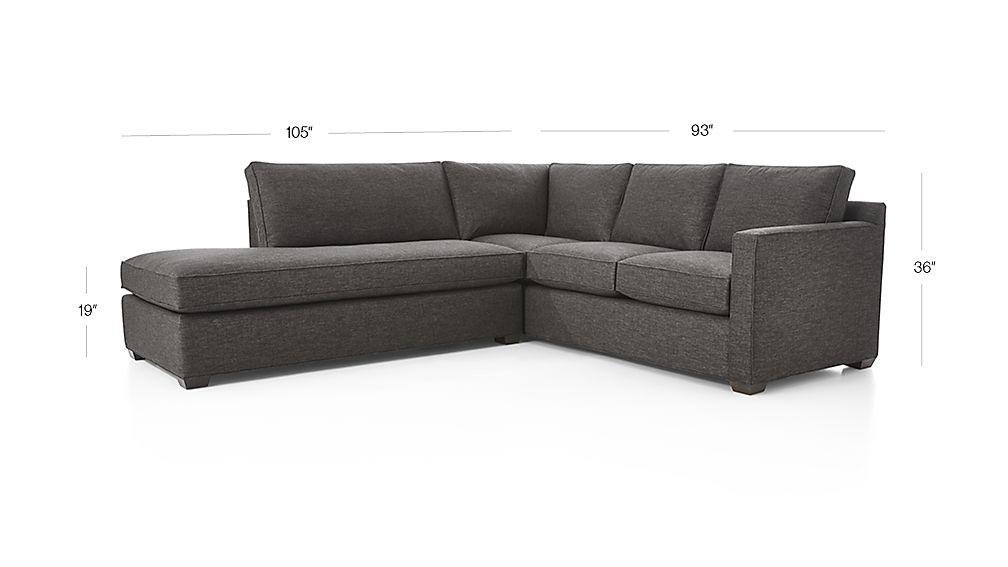 Davis 2 piece left bumper sectional sofa in davis for Davis 2 piece sectional sofa