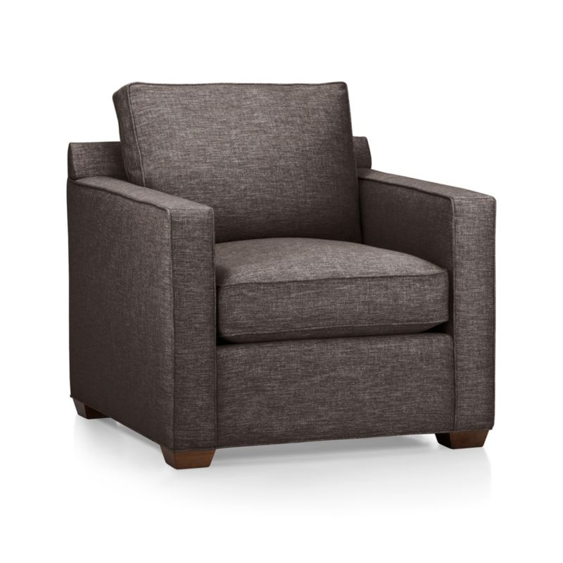 Davis is designed to sit big in small spaces at an affordable price. Versatile chair is perfect for a variety of spaces including family rooms, dens, casual living rooms and guest rooms. It's upright, yet comfortable style make it a welcome addition to any space. <NEWTAG/><ul><li>Frame is benchmade with certified sustainable hardwood that's kiln-dried to prevent warping</li><li>Flexolator spring suspension system</li><li>Soy-based polyfoam seat cushion wrapped in fiber-down blend and encased in downproof ticking</li><li>Fiber-down back cushion encased in downproof ticking</li><li>Self-welt detail</li><li>Hardwood legs finished with a hickory brown stain</li><li>Made in North Carolina, USA</li></ul><br />