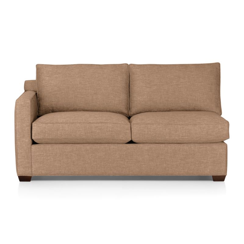 Davis is a contemporary compact sectional designed for contemporary real life. Every imaginable configuration is possible between these modular pieces and the companion stand-alone pieces, all with firm but plump support. Upholstered in a sophisticated tonal taupe weave, they stand up to high traffic. Understated hardwood legs have a rich hickory finish. Davis sofa group also available.<br /><br />After you place your order, we will send a fabric swatch via next day air for your final approval. We will contact you to verify both your receipt and approval of the fabric swatch before finalizing your order.<br /><br /><br /><NEWTAG/><ul><li>Certified kiln-dried hardwood frame</li><li>Seat cushions are multilayer soy- or plant-based polyfoam wrapped in fiber/down blend encased in downproof ticking</li><li>Flexolator spring suspension</li><li>Back cushions are fiber/down encased in downproof ticking</li><li>100% polyester</li><li>Self-welt detail</li><li>Benchmade</li><li>See additional frame options below</li><li>Made in North Carolina, USA</li></ul>