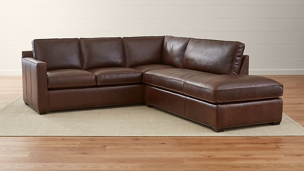 Davis Leather 2 Piece Right Bumper Sectional Sofa Crate