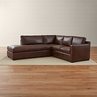 Davis Leather 2-Piece Left Bumper Sectional Sofa