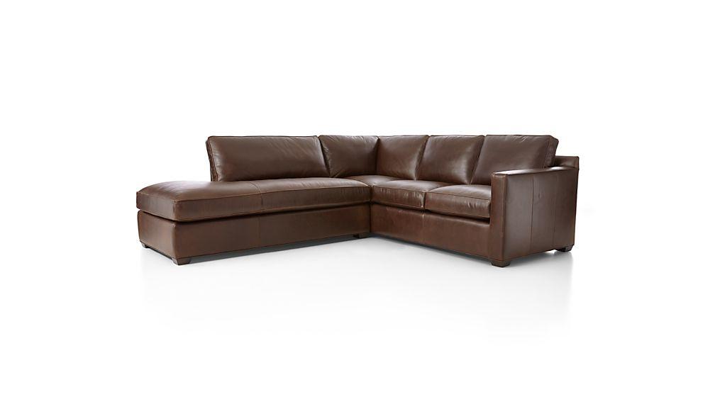 Davis Leather 2-Piece Left Bumper Sectional Sofa
