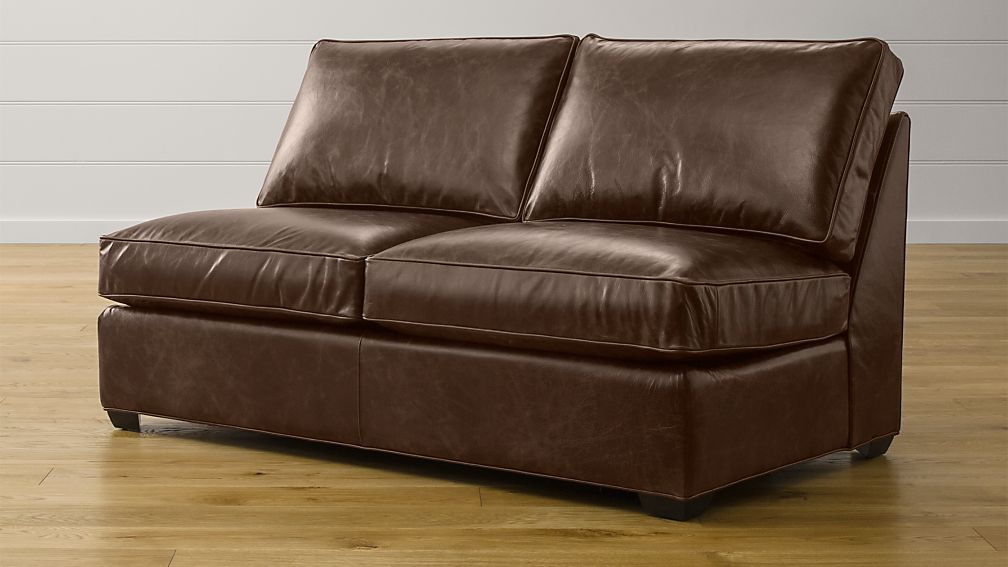 Davis Armless Leather Loveseat Crate And Barrel
